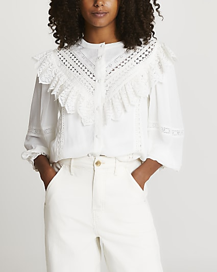 White lace frill blouse top