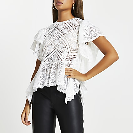 White lace frill top