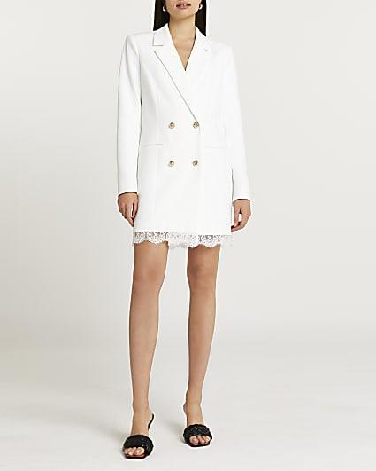 White lace hem double breasted blazer