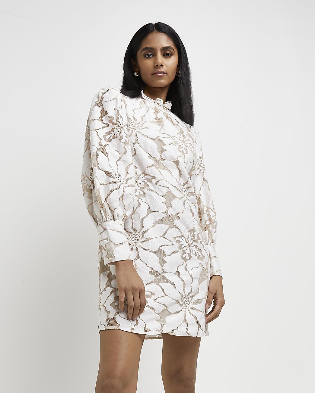 White lace high neck mini dress