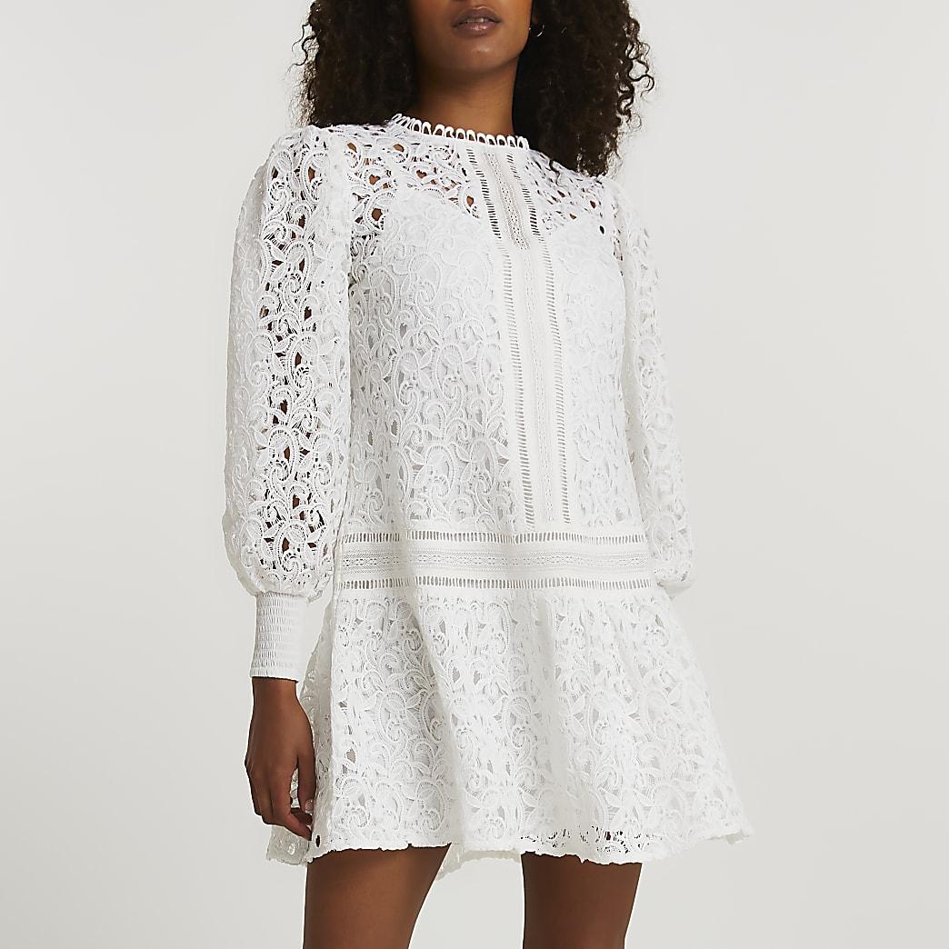 White lace long sleeve mini dress