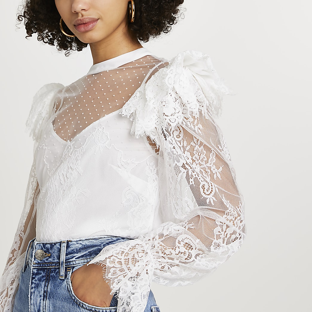 White lace sheer frill blouse top