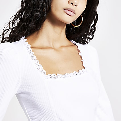 White lace square neck long sleeve top