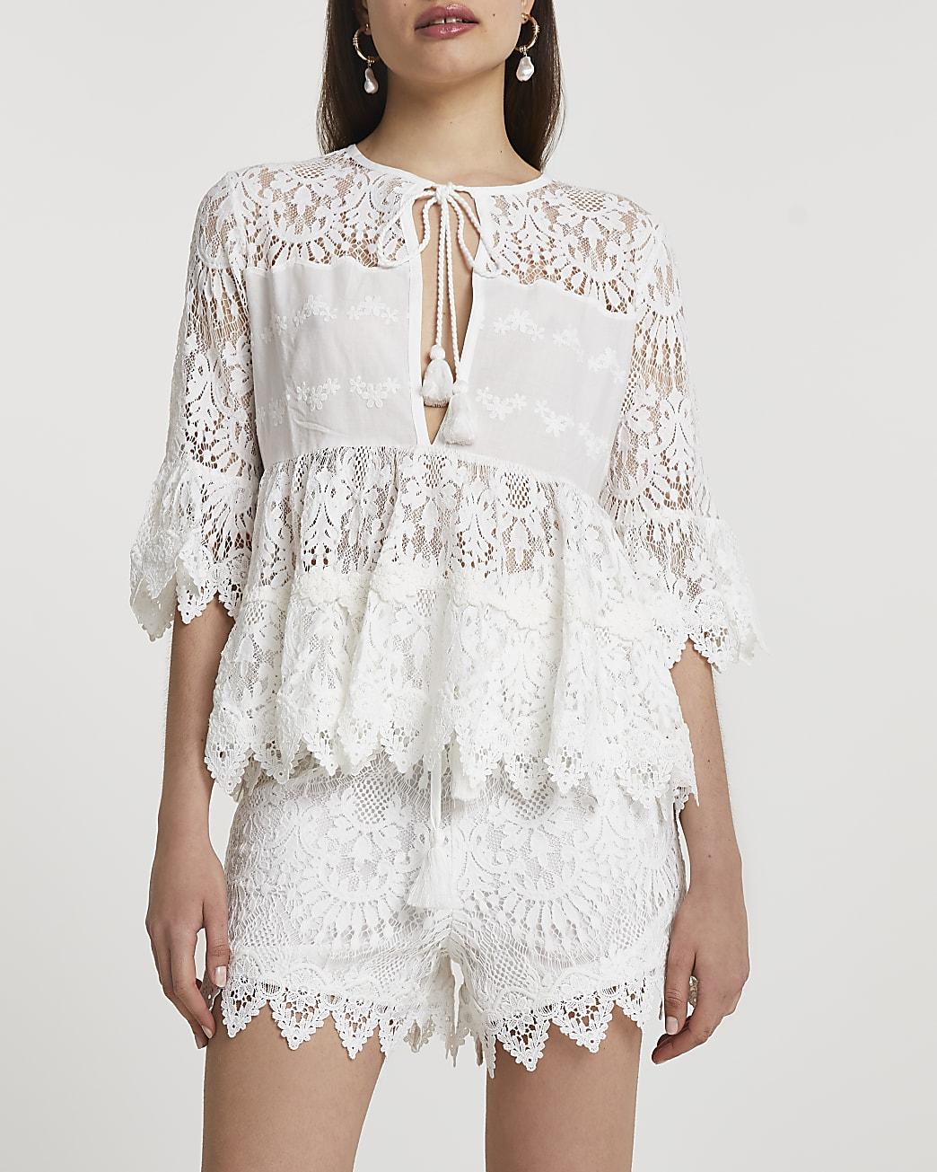 White lace tie front detail blouse
