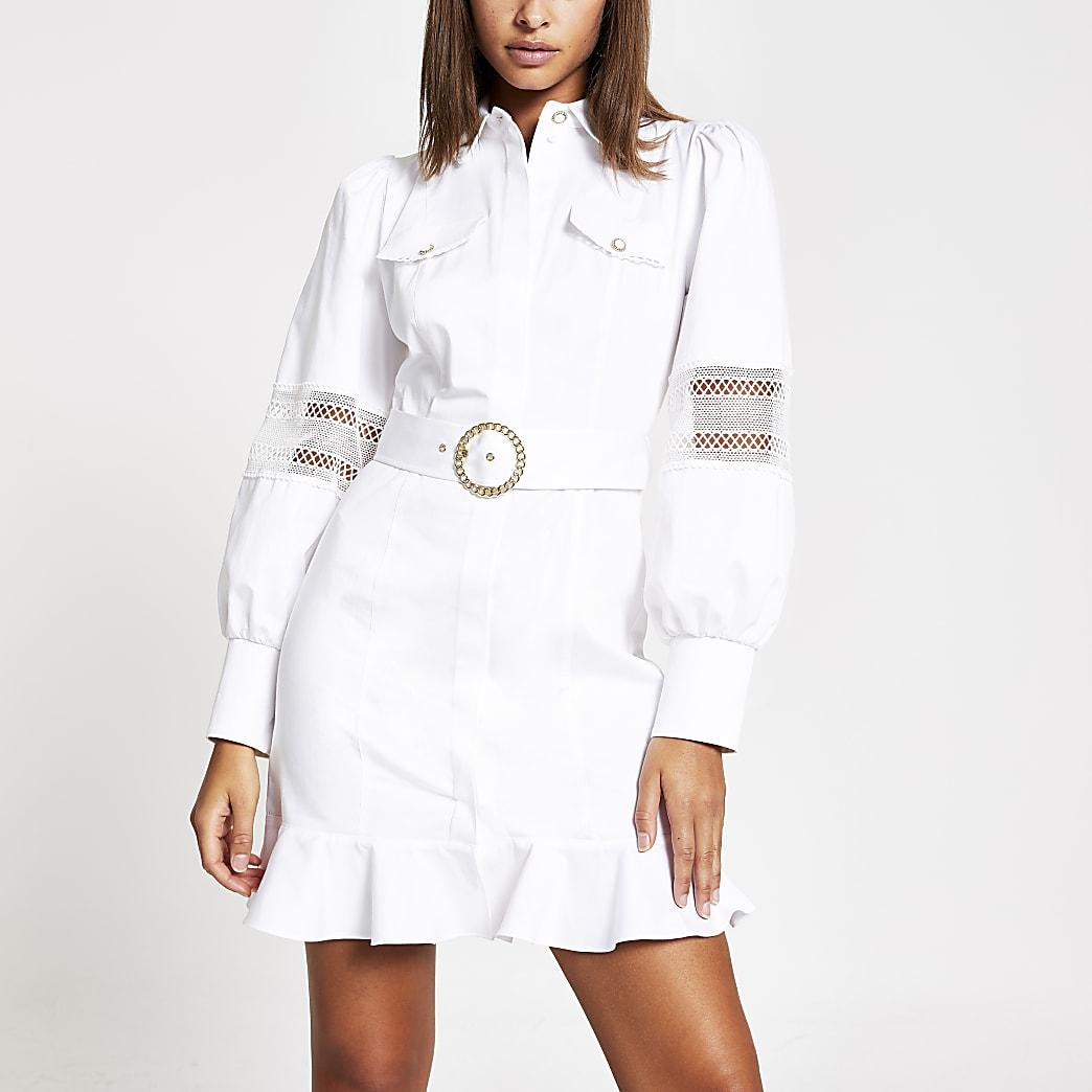 White lace trim belted shirt mini dress