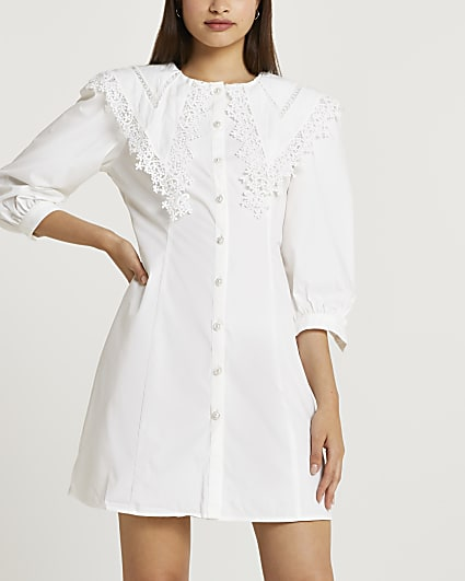 White lace trim collar shirt dress
