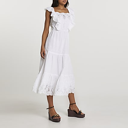 White lace trim midi dress