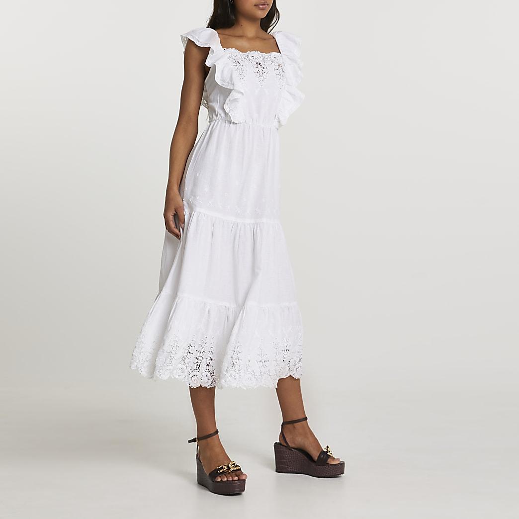 White lace trim midi dress