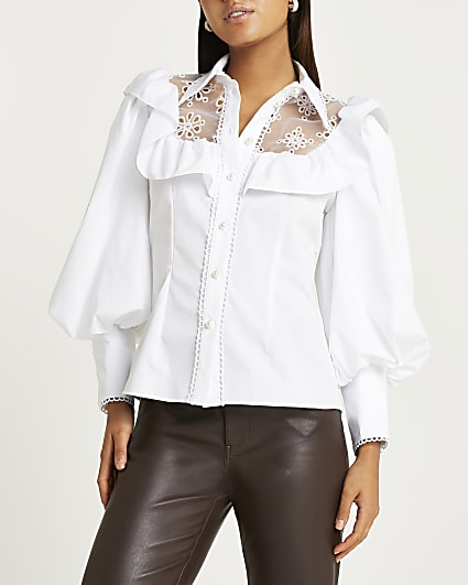 White lace trim puff sleeve shirt