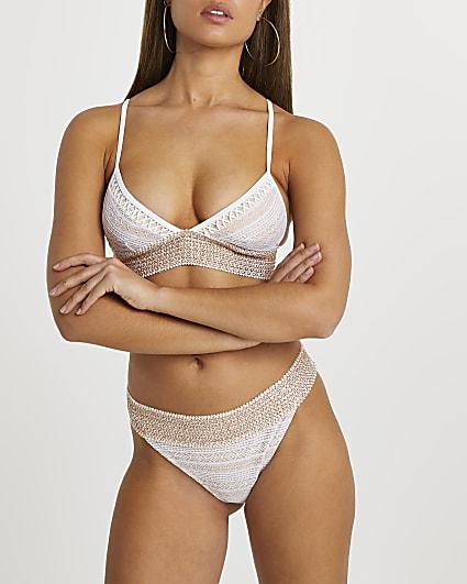 White lace trim tanga bikini briefs