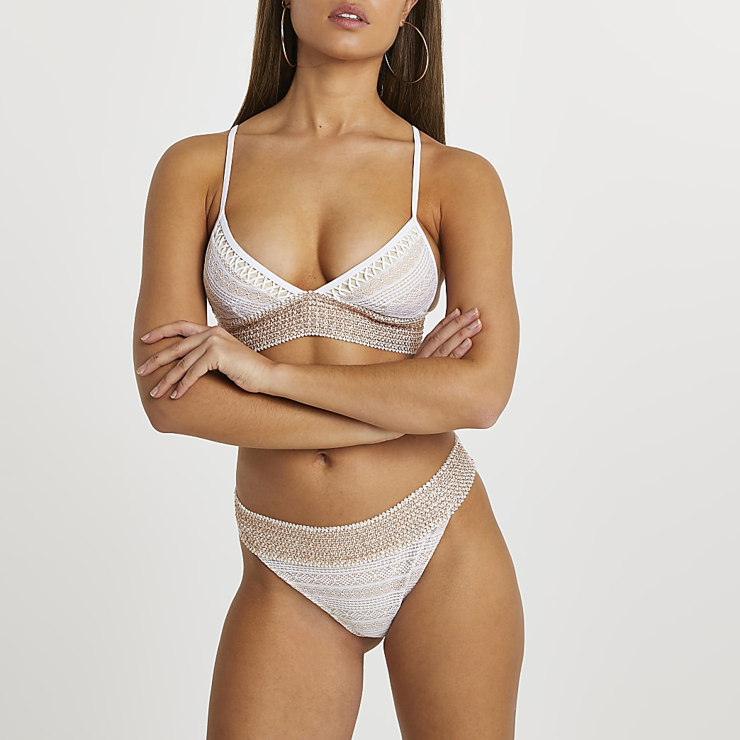 White lace trim tanga bikini briefs