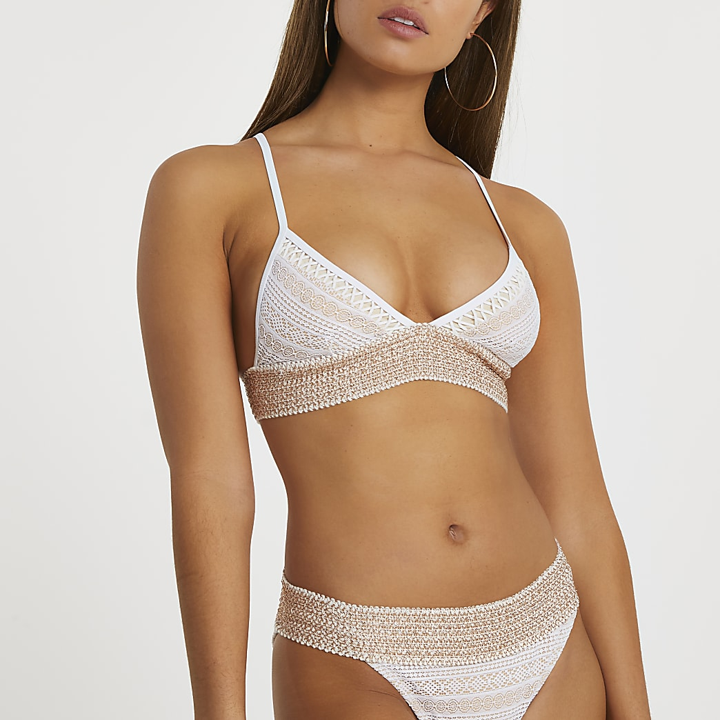 White lace trim triangle bikini