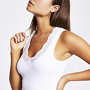 Débardeur avec bordure en dentelle et col en V blanc