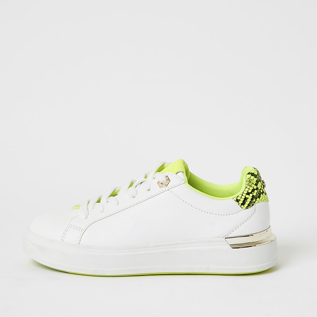 White lace-up chunky neon trainers