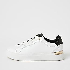 Baskets blanches à plateforme épaisseavec lacets