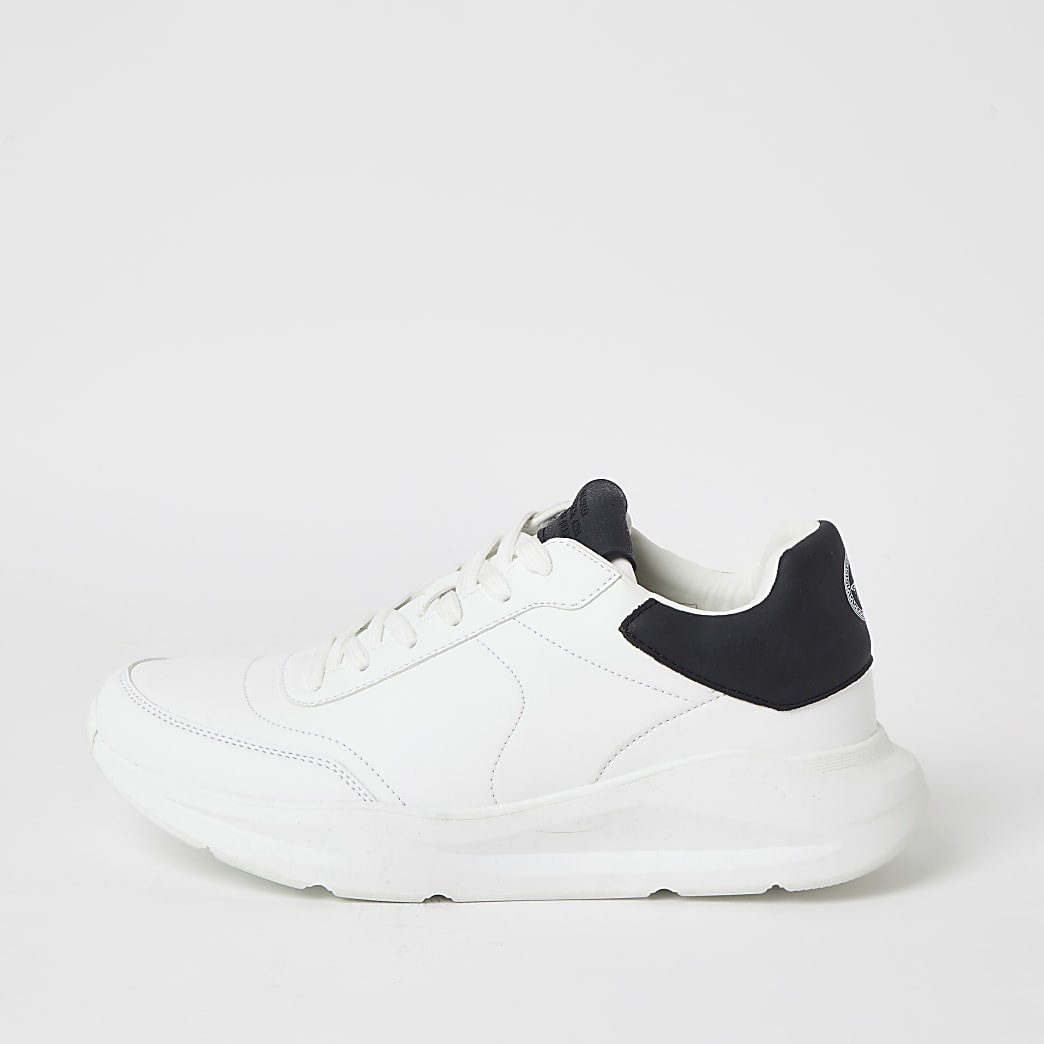 White lace-up chunky runner trainers