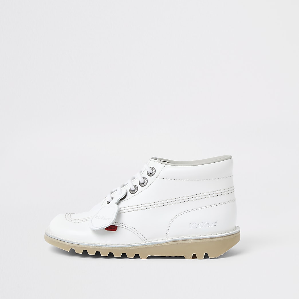 White lace up Kickers ankle boot