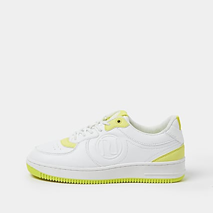 White lace up neon trim trainers