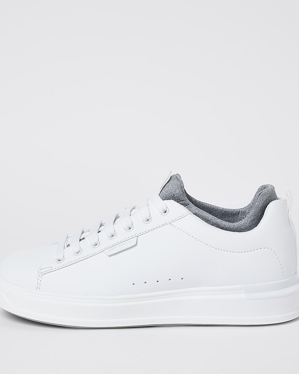 White lace-up wedge sole trainers