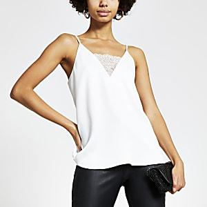 Witte cami-top met kant en V-hals