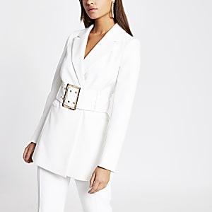 White large belted longline blazer