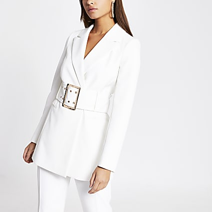 White large belted longline blazer