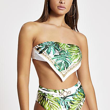 White leaf print bandeau bikini top