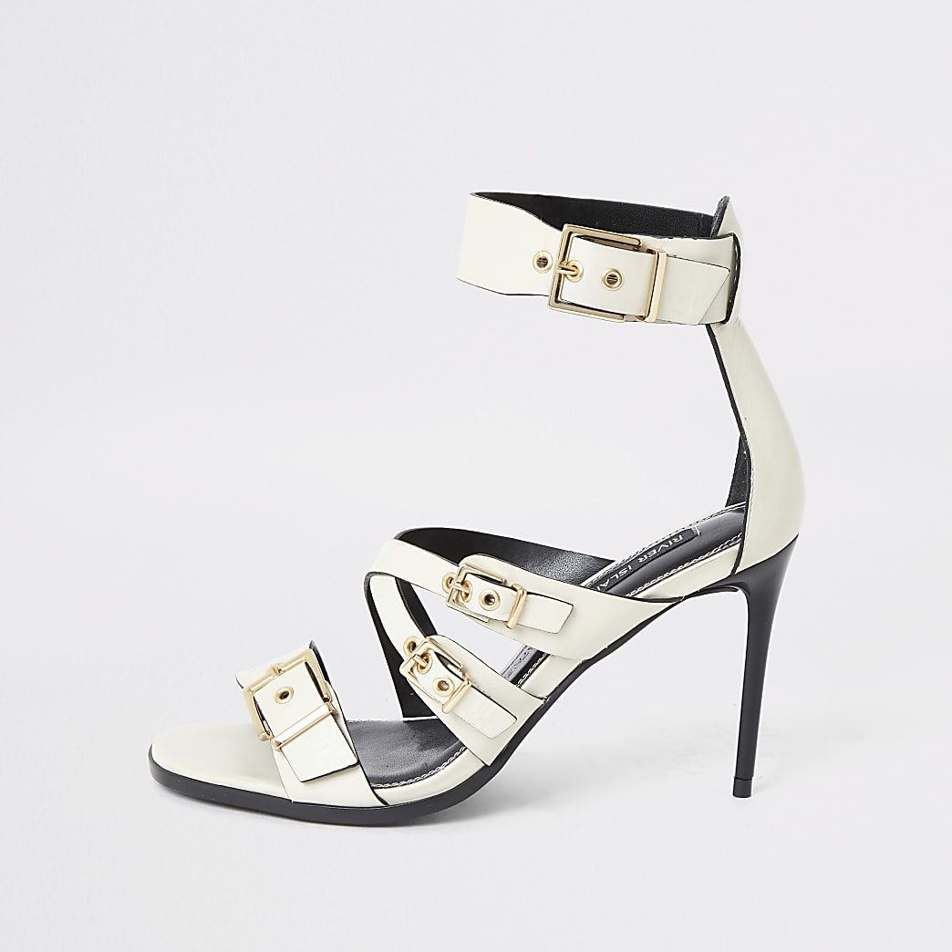White leather buckle heeled sandal