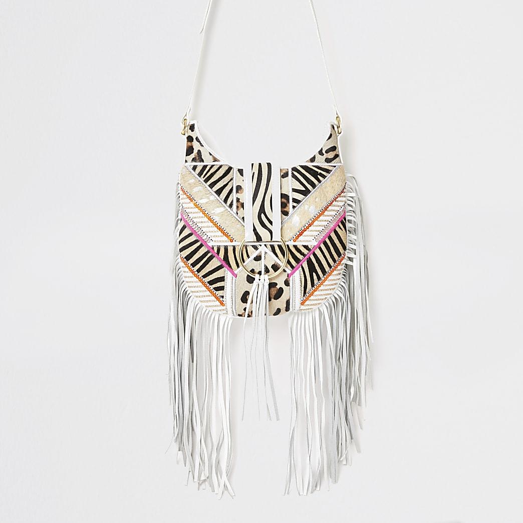 White leather fringe cross body handbag