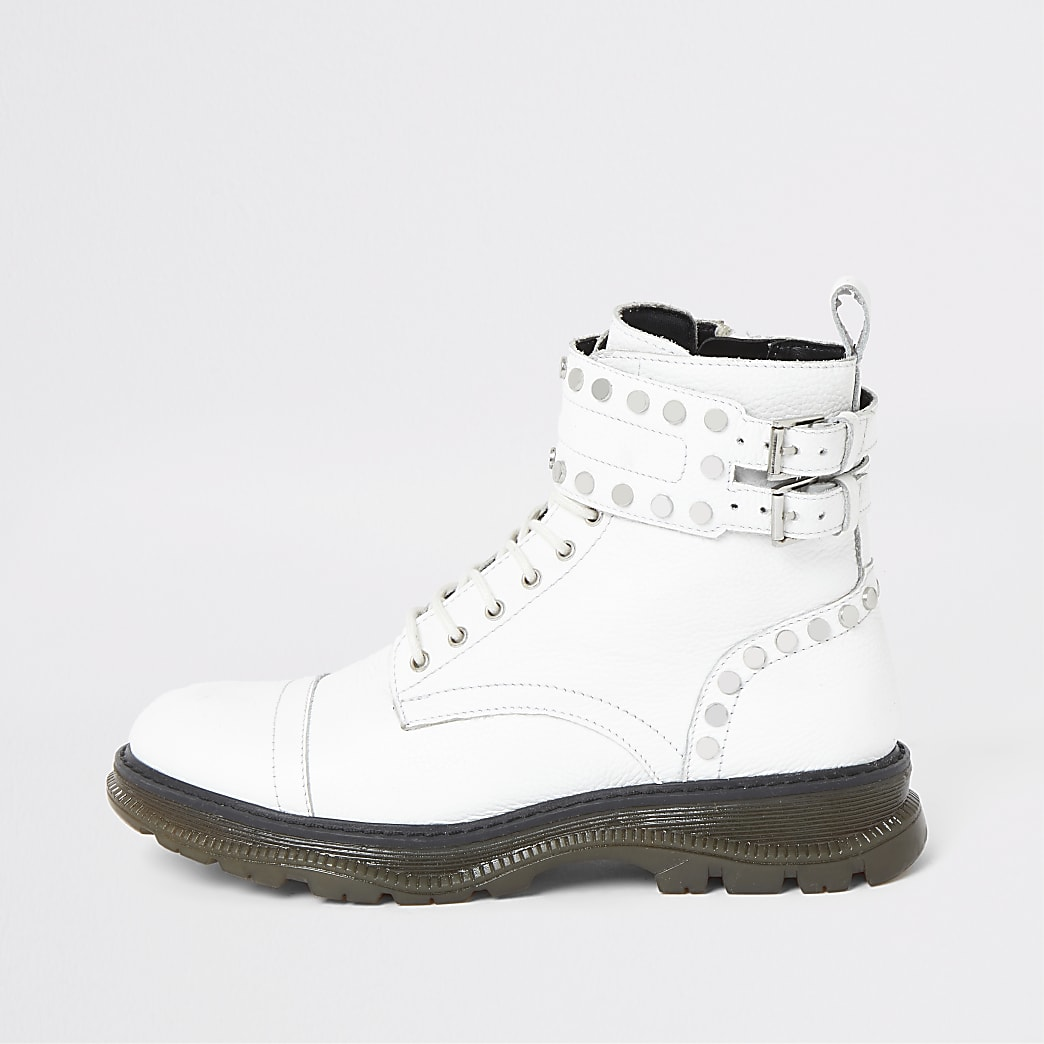 White leather studded lace-up hiking boots