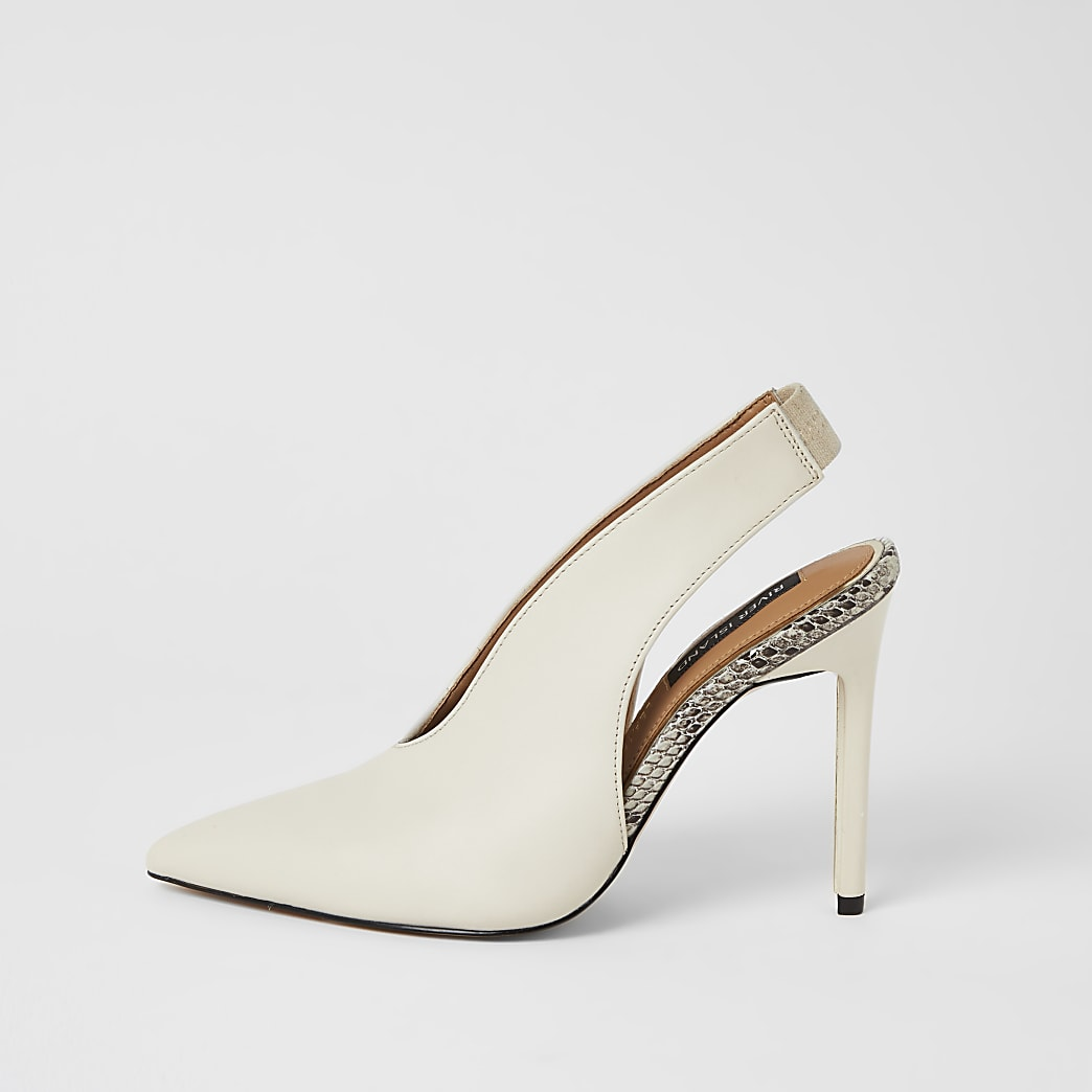 White leather V front slingback court shoes