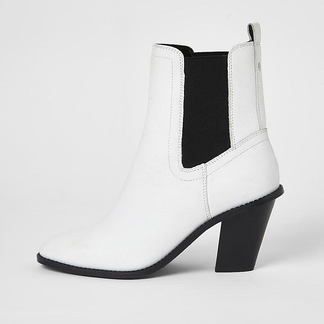 Witte leren western laarzen met hoge hakken