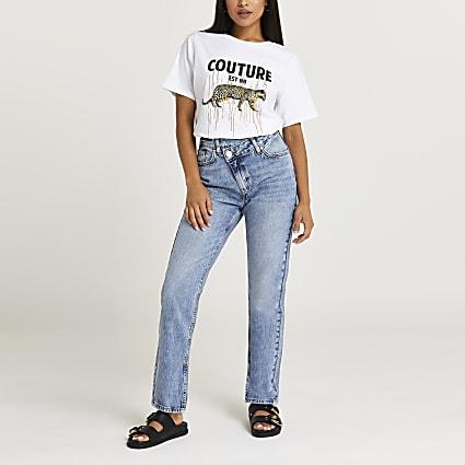 White leopard print boyfriend t-shirt