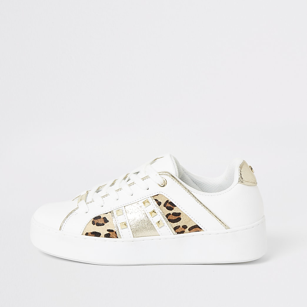 White leopard print studded side trainers