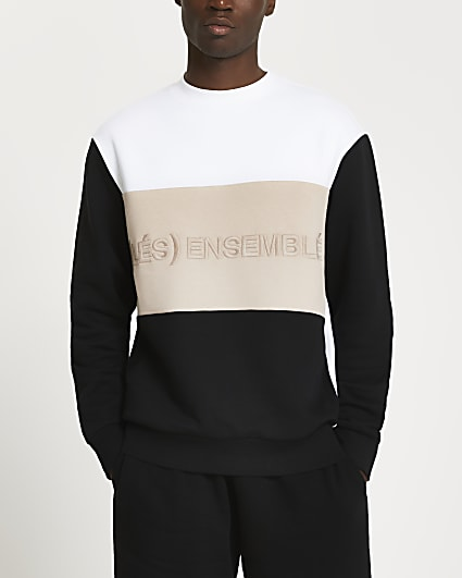 White 'Les Ensemble' colour block sweatshirt