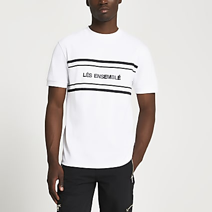 White 'Lés Ensemblé' slim fit t-shirt