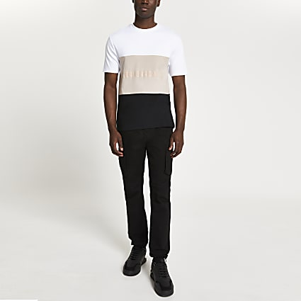 White 'Les Ensembles' colour block t-shirt