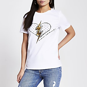T-shirt à imprimé coeuret éclair blanc