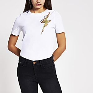 White lighting bolt print T-shirt