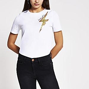 Wit T-shirt met bliksemschichtprint