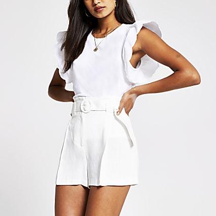 White linen belted short
