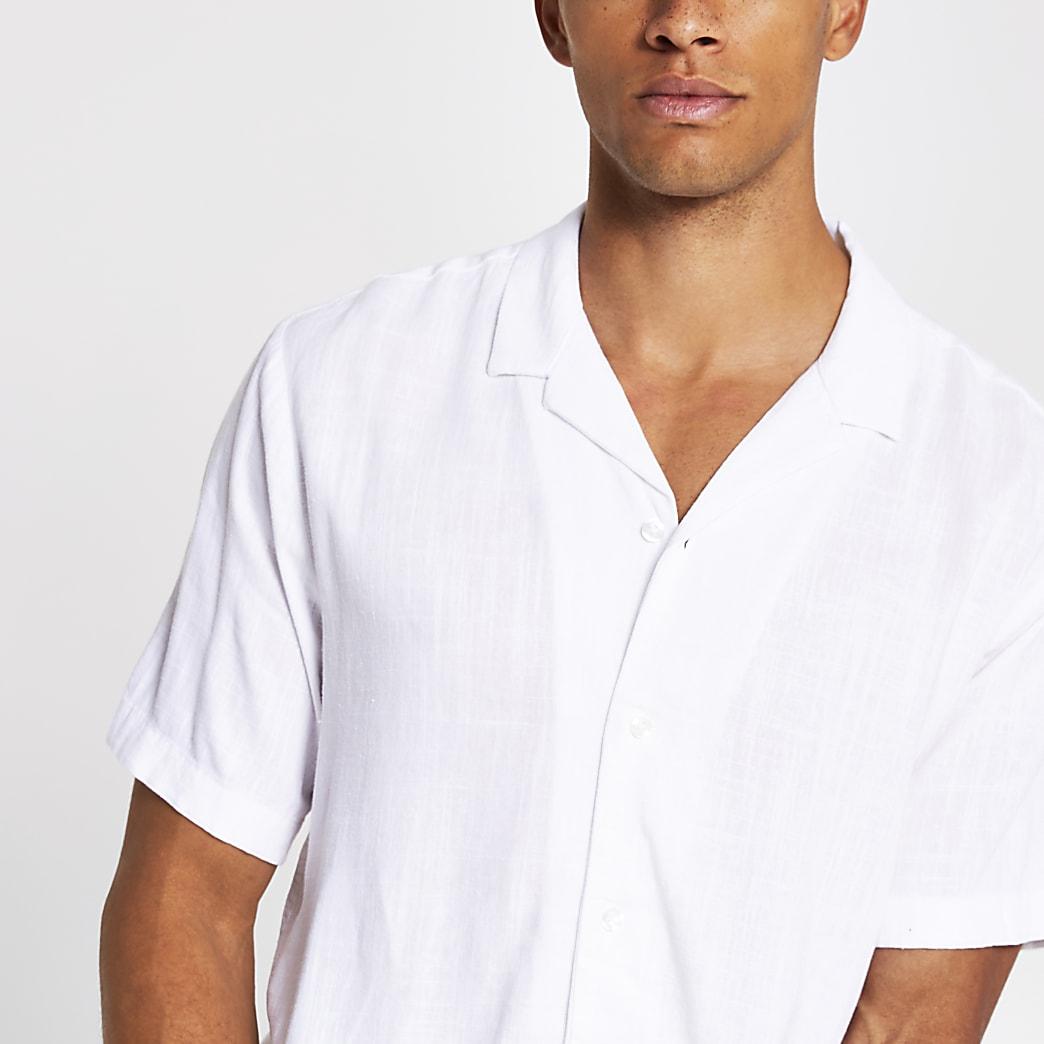 White linen regular fit short sleeve shirt
