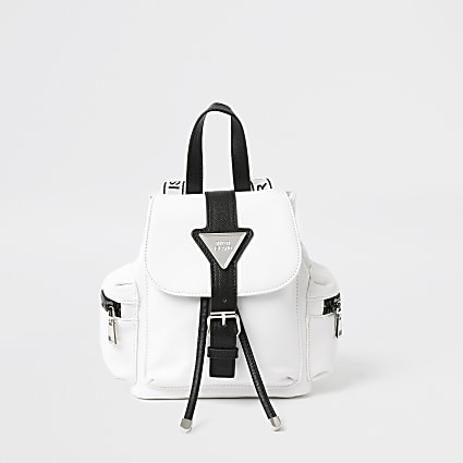 White lock front backpack