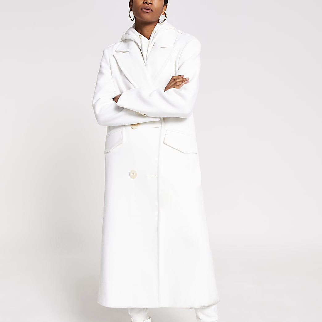 White long line double breasted coat