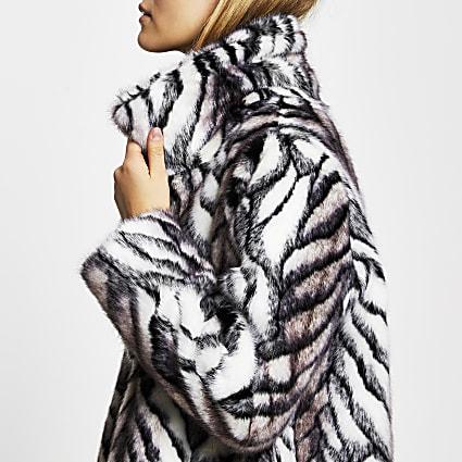 White long line faux fur zebra print coat