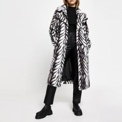 River Island Zebra Coat, White Long Line Faux Fur Zebra Print Coat