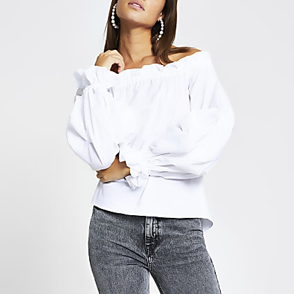 White long ruched sleeve bardot top