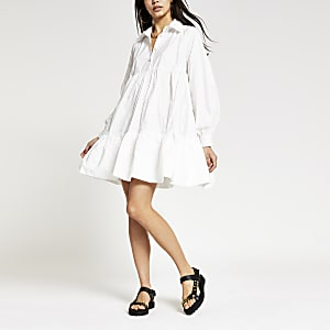 White long sleeve babydoll shirt mini dress