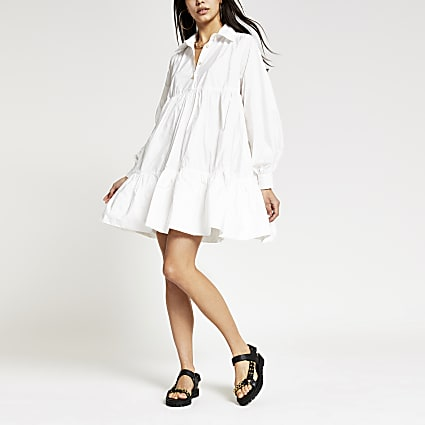 White long sleeve babydoll shirt mini dress