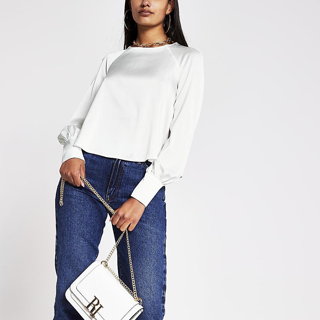 White long sleeve balloon sleeve blouse